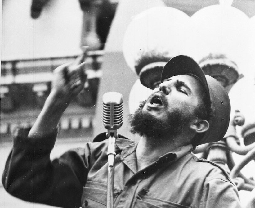In in this Feb. 6, 1959 file photo, Cuba's leader Fidel Castro speaks to a crowd during his triumphant march to Havana after the fall of the Batista regime. (AP Photo/File)