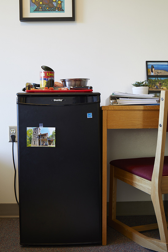 Dorm room cooking essentials include a mini-fridge, an 8-inch chef's knife, a mixing bowl, a can opener and a cutting board. (Photograph by Reena Newman)