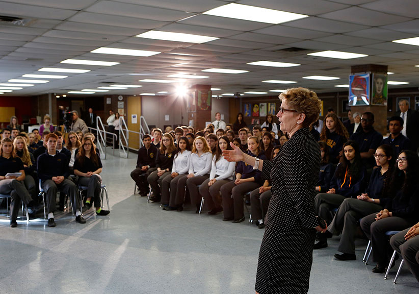 Premier Wynne visits students at Michael Power St Joseph High School to discuss the importance of education and takes questions from students. The province is considering the removal of a mandatory civics class. (Ontario Liberal Caucus)