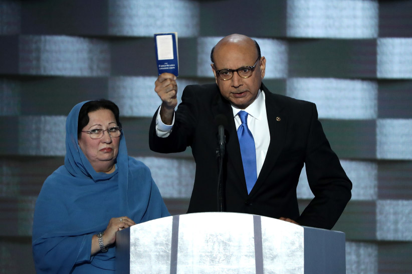 Khizr Khan, father of deceased Muslim U.S. Soldier Humayun S. M. Khan, holds up a booklet of the US Constitution as he delivers remarks on the fourth day of the Democratic National Convention. (Alex Wong/Getty Images)
