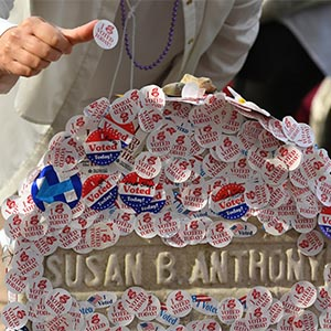 "The grave of women's suffrage leader Susan B. Anthony is covered with ""I Voted"" stickers left by voters in the U.S. presidential election, at Mount Hope Cemetery in Rochester, New York November 8, 2016. (Adam Fenster/Reuters)"