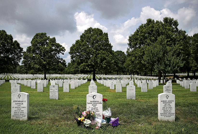 The gravesite of Muslim-American, U.S. Army Capt. Humayun Khan is shown at Arlington National Cemetary August 1, 2016 in in Arlington, Virginia. Khan was killed during Operation Iraqi Freedom in 2004. Khan's mother and father, Ghazala and Khizr Khan, were criticized by Republican presidential candidate Donald Trump. (Mark Wilson/Getty Images)