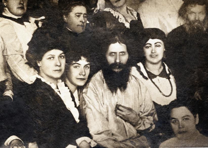 Portrait of Grigori Efimovitch Rasputin (1869-1916) among his followers  (Russia)