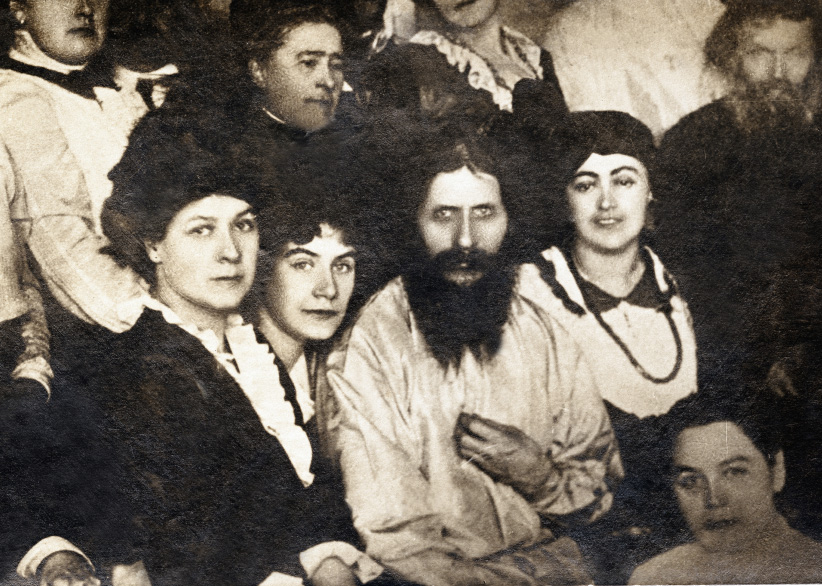 Portrait of Grigori Efimovitch Rasputin (1869-1916) among his followers (Russia). Ca. 1907. (adoc-photos/Corbis/Getty Images)