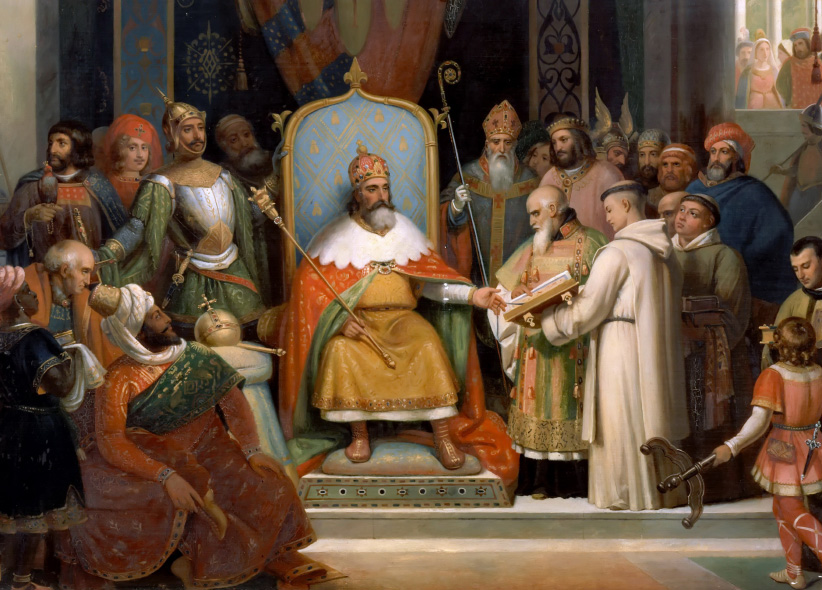 Charlemagne receives Alcuin, 780. Found in the collection of Muse de l'Histoire de France, Chteau de Versailles. (Fine Art Images/Heritage Images/Getty Images)