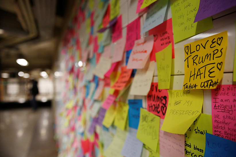 Post-election Post-it notes are seen pasted along a tiled walk at Union Square subway station in New York U.S., November 14, 2016. (Shannon Stapleton/Reuters)