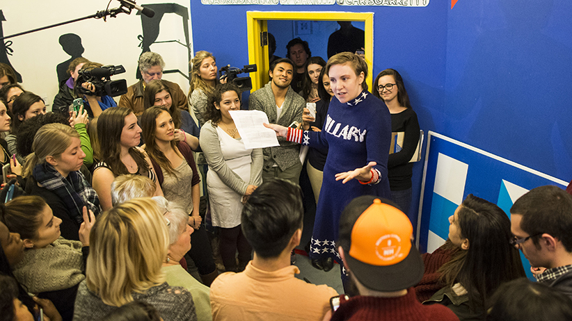 Screenwriter and actress Lena Dunham speaks to a crowd at a Hillary Clinton campaign office on January 8, 2016 in Manchester, New Hampshire. Dunham highlighted Democratic presidential candidate Hillary Clinton's commitment to standing up for women and girls.  (Scott Eisen/Getty Images)
