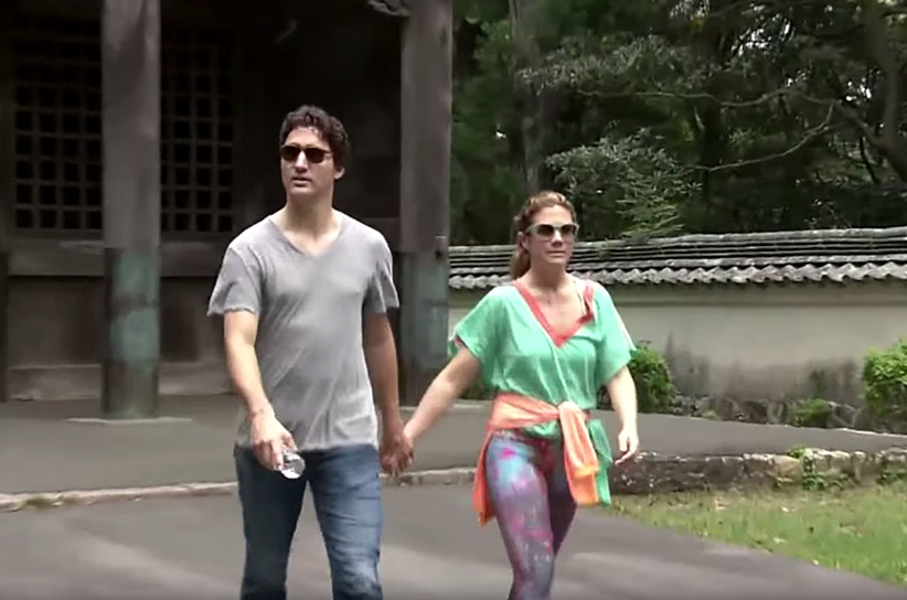 Screengrab from a video of Justin Trudeau and Sophie Gregoire-Trudeau going for a walk on their anniversary in Japan. (CBC)