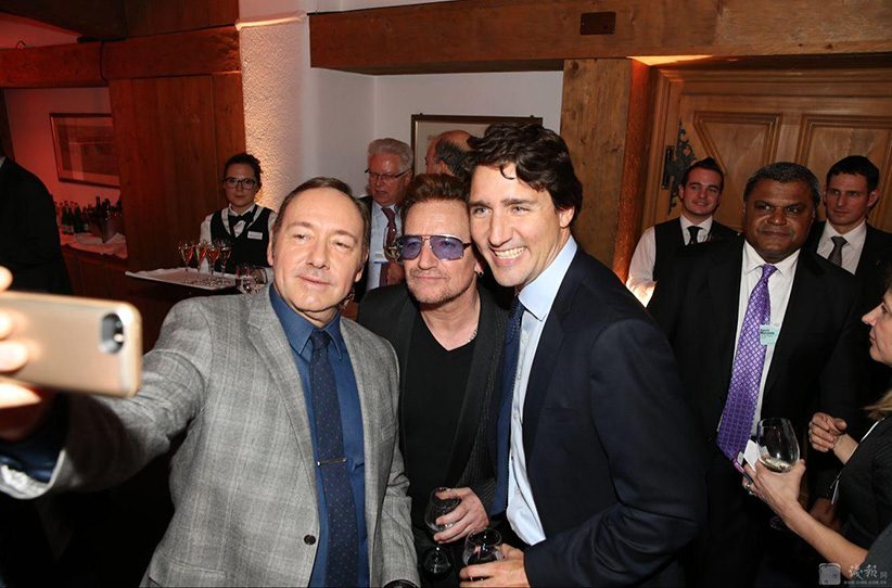 Justin Trudeau, Bono and Kevin Spacey. (no credit)