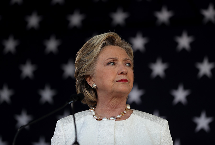 Democratic presidential nominee former Secretary of State Hillary Clinton speaks during a campaign rally at Pasco-Hernando State College East Campus on November 1, 2016 in Dade City, Florida. With one week to go until election day, Hillary Clinton is campaigning in Florida. (Justin Sullivan/Getty Images)