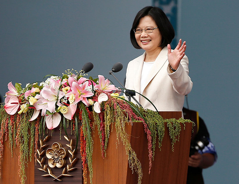 Taiwan's President Tsai Ing-Wen waves before addressing attendees during an inauguration ceremony in Taipei, Taiwan, on May 20, 2016. (Tyrone Siu/Reuters)