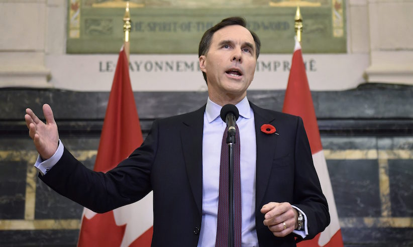 Minister of Finance Bill Morneau speaks during a press conference before tabling the Fall Economic Statement, on Parliament Hill, Tuesday, Nov. 1, 2016 in Ottawa. THE CANADIAN PRESS/Justin Tang