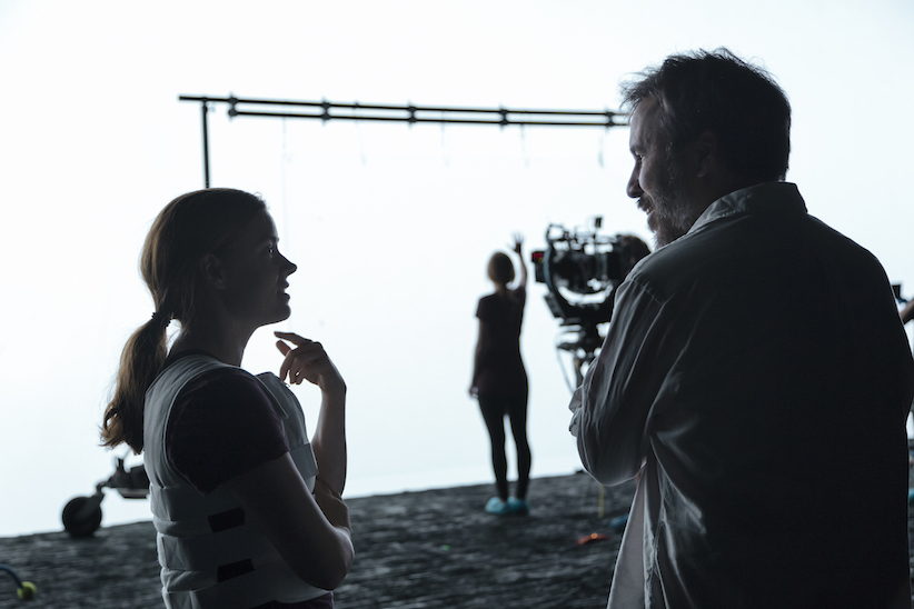 Left to right: Amy Adams and director Denis Villeneuve on the set of the film 'Arrival'. (Handout/Paramount Pictures)