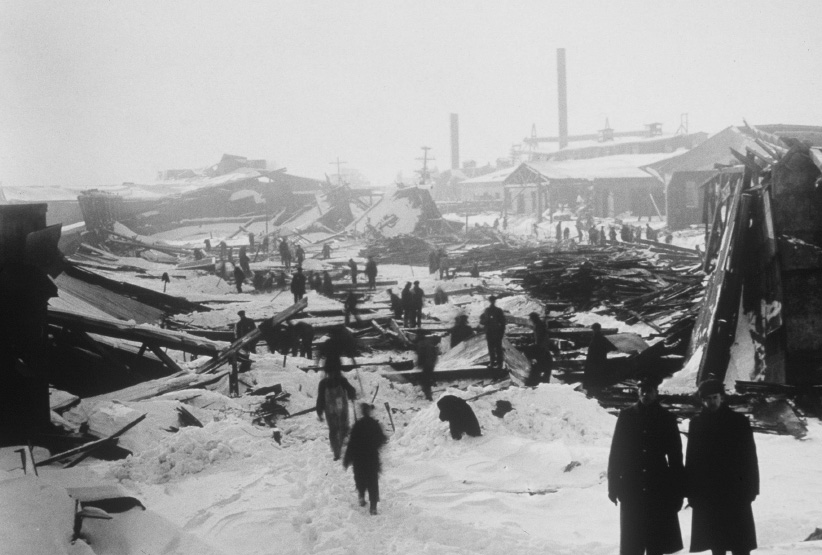 The Halifax harbour, after the 1917 explosion. (CP)