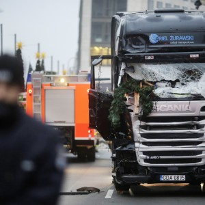A truck which ran into a crowded Christmas market Monday evening killing several people Monday evening is seen in Berlin, Germany, Tuesday, Dec. 20, 2016.(AP Photo/Markus Schreiber)