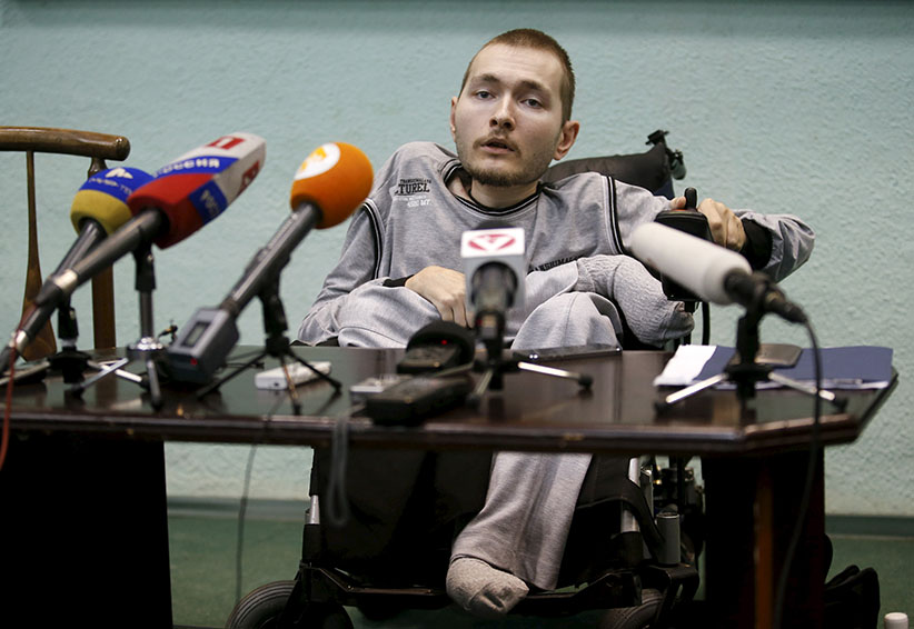 Valery Spiridonov, a man who has volunteered to be the first person to undergo a head transplant, attends a news conference in Vladimir, Russia, June 25, 2015. The 30-year-old Russian, who has a degenerative muscle condition known as Werdnig-Hoffman, wants to become the first person ever to undergo a human head transplant performed by Italian neurosurgeon Dr. Sergio Canavero who says he believes he has a 90 percent chance of success. (Maxim Zmeyev/Reuters)