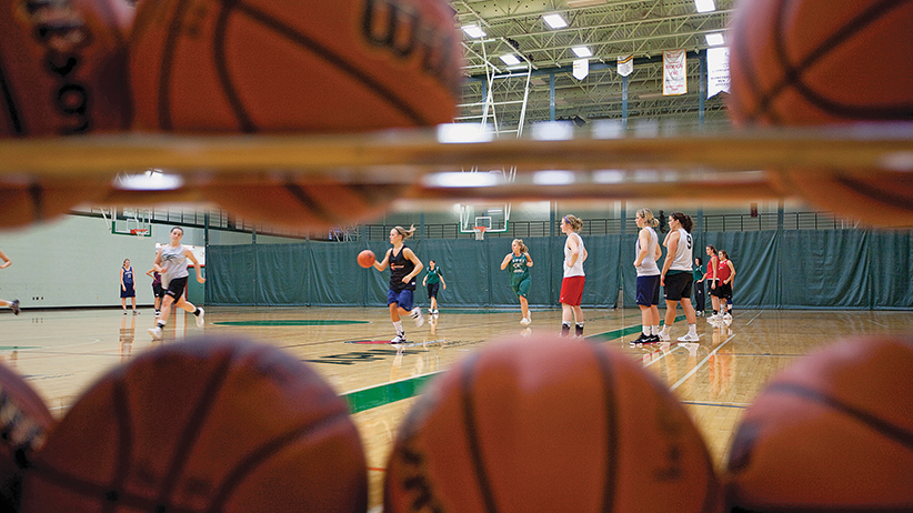 University of Prince Edward Island students on the basketball court