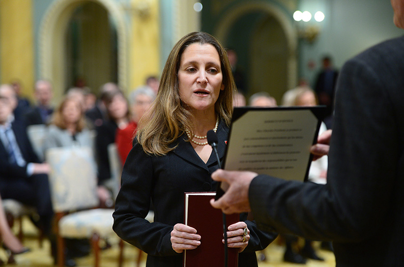 Chrystia Freeland is sworn in as Minister of Foreign Affairs during a ceremony at Rideau Hall in Ottawa on Tuesday, Jan 10, 2017. (Sean Kilpatrick/CP)