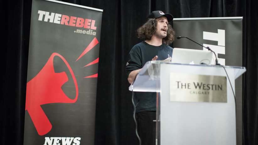 "Bernard ""the Roughneck"" Hancock speaks at the the Rebel Media rally that was against carbon taxing in Calgary, Alberta on Sunday, December 11, 2016. (Photograph by Chris Bolin)"
