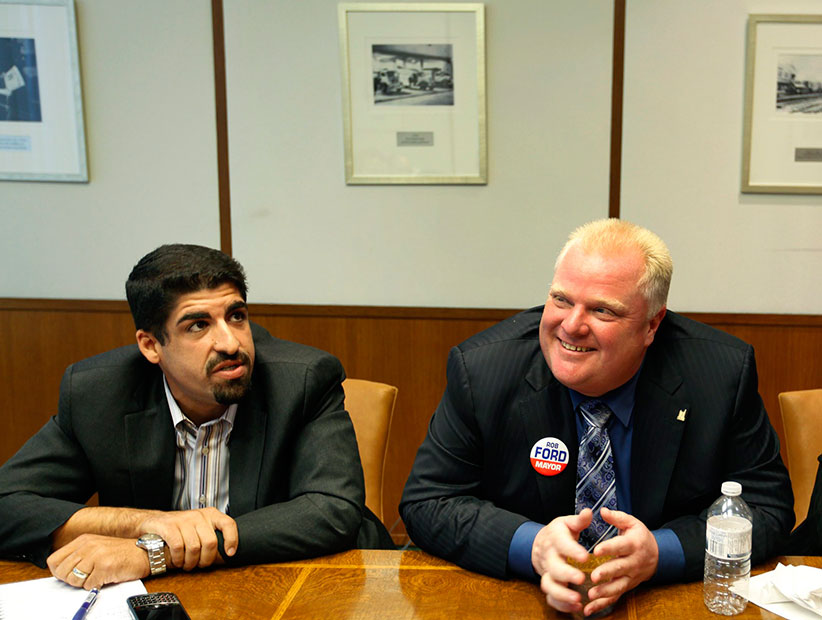 Toronto City Mayoral Candidate Rob Ford (middle) is photographed flanked by his campaign staff, (L to R) Campaign Manager Nick Kouvalis, Director of Communications Adrienne Batra during an interview at The Globe and Mail in Toronto, Ontario, Canada on September 27, 2010. (Deborah Baic/The Globe and Mail/CP)