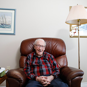 Douglas Snair, 100 years old and survivor of the Halifax Explosion, interviewed in Arnprior, Ontario January 3, 2017. Photo / video by Blair Gable
