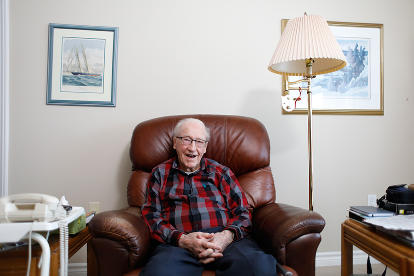 Douglas Snair, 100 years old and survivor of the Halifax Explosion, interviewed in Arnprior, Ontario January 3, 2017. (Photograph by Blair Gable)