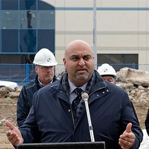Rathore at the groundbreaking ceremony for a hotel and condo project in Regina.
