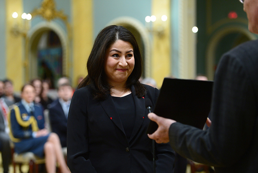 Maryam Monsef is sworn in as Minister of Status of Women during a ceremony at Rideau Hall in Ottawa on Tuesday, Jan 10, 2017. (Sean Kilpatrick/CP)