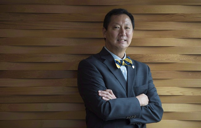 Santa Ono poses for a portrait following an event at the University of British Columbia in Vancouver, B.C., Friday, June, 13, 2016. Ono has issued an apology for the school's decision to cancel a planned speech by former Vancouver Olympic CEO John Furlong. THE CANADIAN PRESS/Jonathan Hayward