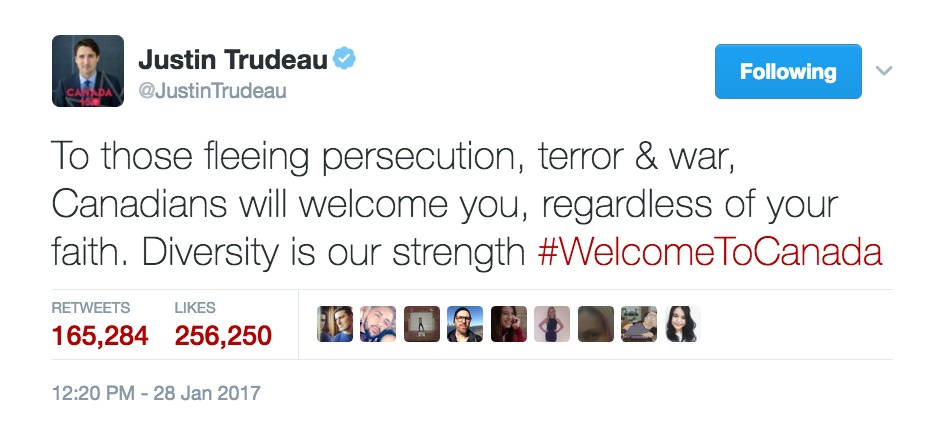 Justin Trudeau tweets his support for refugees, Saturday January 28, 2017