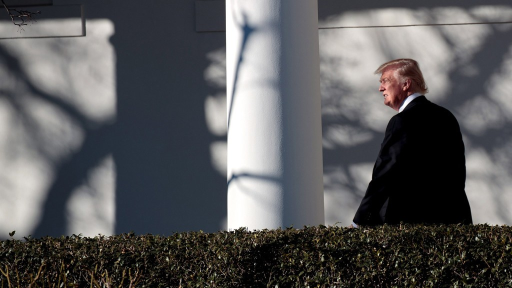 WASHINGTON, DC - JANUARY 26: Upon returning from Philadelphia, President Donald Trump walks along the West Wing Colonnade on his way to the Oval Office at the White House, January 26, 2017 in Washington, DC. President Trump traveled to Philadelphia for the Joint GOP Issues Conference. (Drew Angerer/Getty Images)