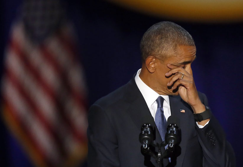 President Barack Obama wipes his tears as he speaks at McCormick Place in Chicago, Tuesday, Jan. 10, 2017, giving his presidential farewell address. (AP Photo/Charles Rex Arbogast)