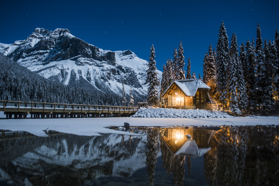 This was taken at Emerald Lake in BC, Canada in early December. It was a brisk -30c evening out. Pure stillness on the shores of Emerald Lake, unbelievably cold, and exceptionally beautiful.