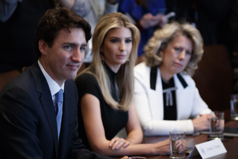 From left, Canadian Prime Minister Justin Trudeau, Ivanka Trump, daughter of President Donald Trump, and TransAlta CEO Dawn Farrell listen during a meeting with women business leaders in the Cabinet Room of the White House in Washington, Monday, Feb. 13, 2017. (Evan Vucci/AP/CP)
