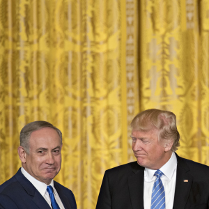 U.S. President Donald Trump, right, looks towards Benjamin Netanyahu, Israel's prime minister, during a news conference in the East Room of the White House in Washington, D.C., U.S., on Wednesday, Feb. 15, 2017. Netanyahu is trying to recalibrate ties with Israel's top ally after eight years of high-profile clashes with former President Barack Obama, in part over Israel's policies toward the Palestinians. (Andrew Harrer/Bloomberg/Getty Images)