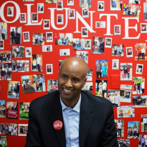 Ahmed Hussen, who was just elected to the House of Commons for York South-Weston, sits in his campaign office on Lawrence Avenue. (Melissa Renwick/Toronto Star/Getty Images)