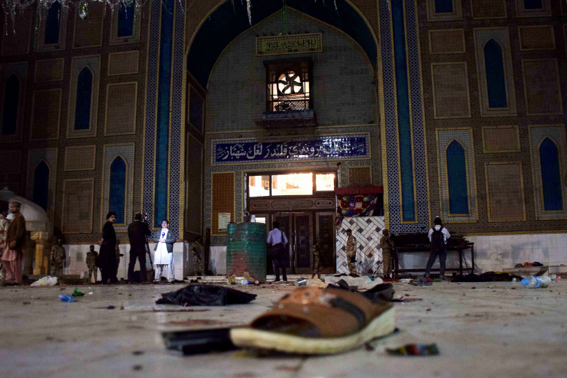 Pakistani soldiers cordon off the shrine of 13th century Muslim Sufi Saint Lal Shahbaz Qalandar, after a bomb blew up in the town of Sehwan in Sindh province, some 200 kilometres northeast of the provincial capital Karachi on February 16, 2017. (Yousuf Nagori/AFP/Getty Images)