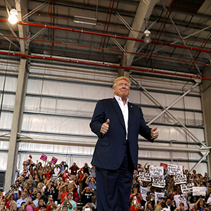 "U.S. President Donald Trump holds a ""Make America Great Again"" rally at Orlando Melbourne International Airport in Melbourne, Florida, U.S. February 18, 2017.  (Kevin Lamarque/Reuters)"
