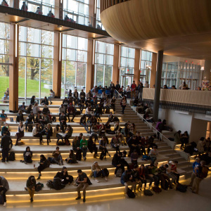 Students in the Nest at UBC in Vancouver. (Photograph by Della Rollins)