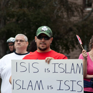 Protesters demonstrate during a Pegida Canada rally at Queens Park in Toronto, Canada on September 19, 2015. Pegida Canada is an organization that aims to stop the Islamization of the west.  (Reynaldo Vasconcelos/CP)