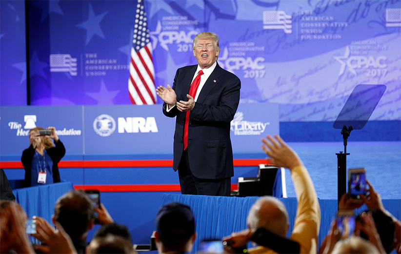 U.S. President Donald Trump applauds his supporters after speaking at the Conservative Political Action Conference, or CPAC, in Oxon Hill in Maryland, U.S., February 24, 2017. (Kevin Lamarque/Reuters)