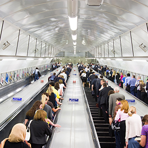 Rush hour commuters on London Underground escalators, UK. (Alex Segre/Getty Images)