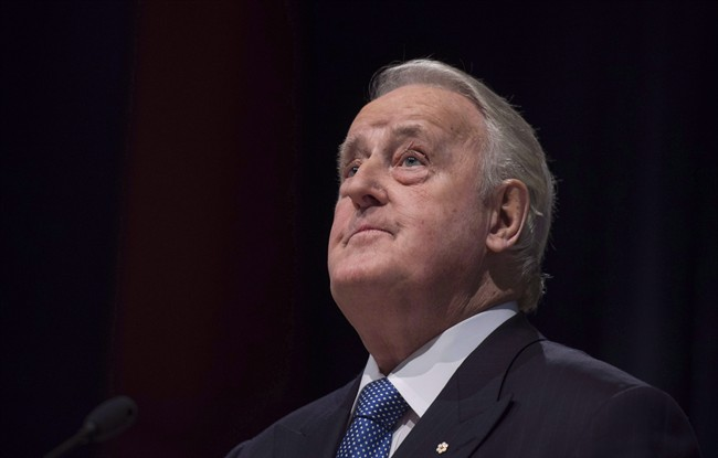 "Former prime minister Brian Mulroney pauses while speaking following the announcement of the $60 million Brian Mulroney Institute of Government and Mulroney Hall at St. Francis Xavier University in Antigonish, N.S. on Wednesday, October 26, 2016. Mulroney says the federal government may face a ""rough negotiation"" when it comes to NAFTA, but he believes Canada will nonetheless emerge with strong ties to the U.S. and Mexico.THE CANADIAN PRESS/Darren Calabrese"