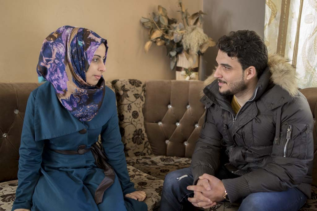 Kirkuk, Iraq Rosol Abd al Karim and her fiance, Mustafa Sofyan in the home of her relatives in Kirkuk. Rosol's family escaped Mosul at the height of the Islamic State's brutal rule.
