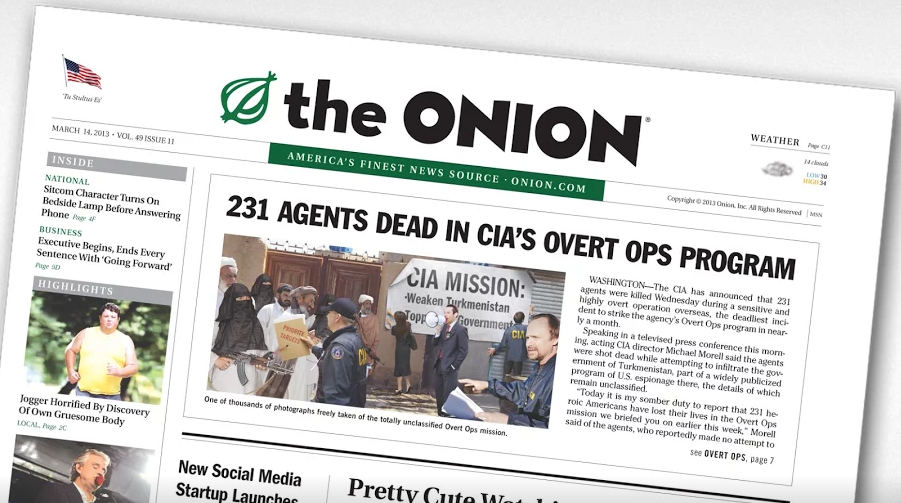 Front page of The Onion, a satirical newspaper. Image via Google Plus.