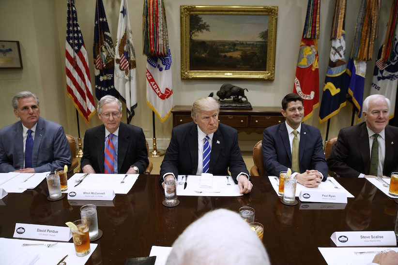 President Donald Trump hosts a meeting with House and Senate leadership, Wednesday, March 1, 2017, in the Roosevelt Room of the White House in Washington. From left are, House Majority Leader Kevin McCarthy of Calif., Senate Majority Leader Mitch McConnell of Ky., Trump, House Speaker Paul Ryan of Wis., and Senate Majority Whip John Cornyn of Texas. (AP Photo/Evan Vucci)