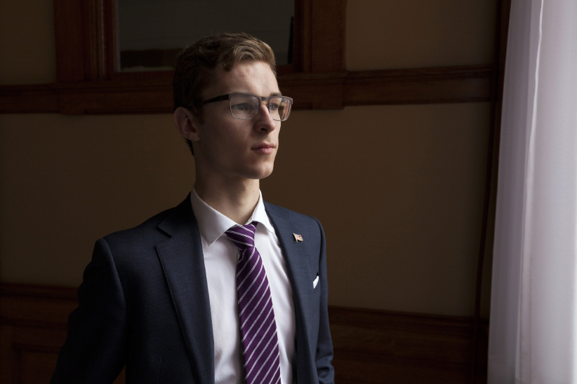 Sam Oosterhoff,19-year-old MPP of Niagara West, poses for a photo inside the Ontario Legislature on March 8, 2017. Oosterhoff survived another nomination challenge on March 7th, in the newly distributed riding of Niagara West, winning over the 46-year-old Tony Quirk by 903 votes to 313. (Noah Park)