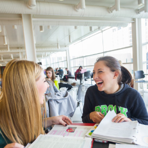 Second year speech and language studies students Christine Civiero and Harley Hamlin study in the plaza building on campus at Brock University. (Photograph by Cole Garside)