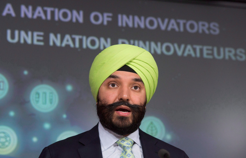 Minister of Innovation, Science and Economic Development Navdeep Bains speaks during a news conference, Tuesday, June 14, 2016 in Ottawa. (Adrian Wyld/CP)
