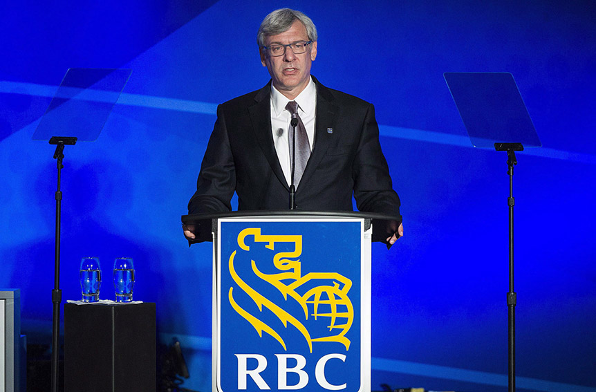 Royal Bank of Canada President and CEO David McKay addresses shareholders during the bank's annual general meeting in Montreal, Wednesday, April 6, 2016. (Graham Hughes/CP)